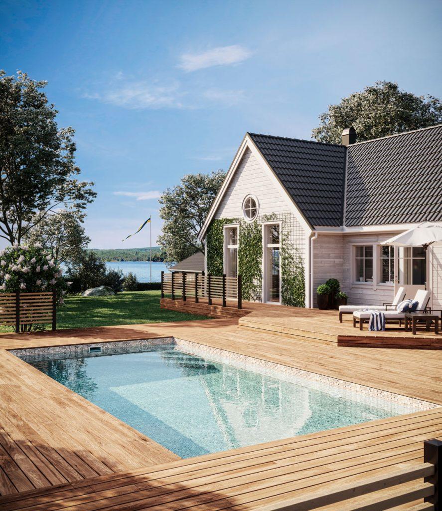 Pool vid hus